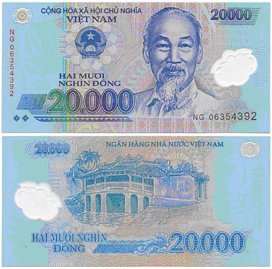 20,000vnd equivalent to 0.8 USD (80cent)